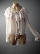 Romantic Victorian Boho Cape Collar Poet Sleeve Peasant Top 121 mv Blouse S M L