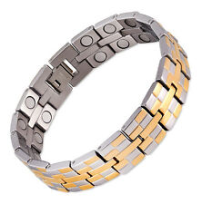 Magnetic Therapy Bracelet Stainless Steel Gold Golf High Power New Double Grand