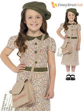 Girls 1940s WW2 Evacuee Costume World War Two VE 40's Kids Fancy Dress Book Day