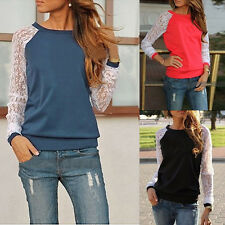 New Fashion Women Sexy Lace Sleeve Neck Blouse Shirt Floral Cotton Blouse Tops