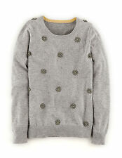 Boden Women's Brand New Embellished Jumper Grey Melange with Cashmere