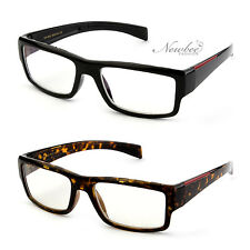 Unisex Thick Frame Clear Lens Glasses with Red Accent Trimmed Temple