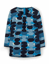 Boden Women's Brand New Easy Printed Top Blue Overlapping Spot Print