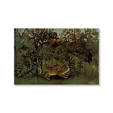 Henri Rousseau's 'The Hungry Lion Throws Itself on the Antelope' Print on Wood