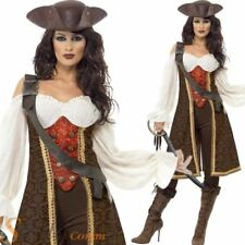 Ladies Deluxe Pirate Costume High Seas Caribbean Wench Fancy Dress Adult Outfit