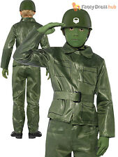 Boys Green Army Plastic Toy Soldier Kids Fancy Dress Up Costume Party Childrens