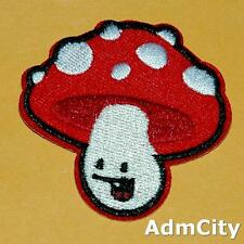 Mushroom Polka Dot Smile Face Iron Sew on Patch Applique Badge Embroidered Cute