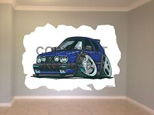 Huge Koolart Cartoon Vw Golf Mk2 Wall Sticker Poster Mural 2449