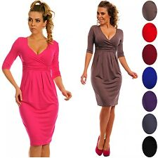 Glamour Empire. Women's Wrap V-Neckline Jersey Pencil Dress with Pleats. 001