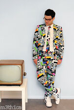 Adult Opposuit Testival TV Test Card Mens Fancy Dress Oppo Suit New Year Costume