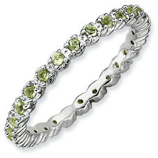 Peridot Eternity Ring .925 Sterling Silver Size 5-10 Stackable Expressions