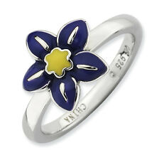Violet Flower Ring Enameled .925 Sterling Silver Size 5-10 Stackable Expressions