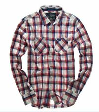 New Mens Superdry Paperweight Madras Shirt Mauve Mix