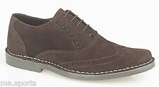 New Roamers Brouge Suede Casual Formal Lace shoes Lightweight Dress Brown Boots