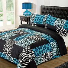 Kruger Teal White Leopard Zebra Print Grey Brown Duvet Quilt Cover Bedding Set