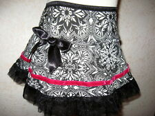 NEW Baby Girls Black,white,pink aztech  jersey Frilly Skirt,Gift,Rock,Party,goth