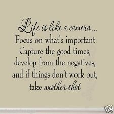 Life is Like a Camera Wall Decal Inspirational Quote Choose Color Vinyl Wall Art