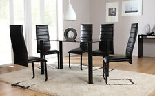 Lunar & Apollo Glass Dining Room Table and 4 6 Chairs Set (Black)