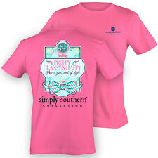 NEW Simply Southern Preppy Classy & Happy PRP Bow Anchor Pink Bright T Shirt