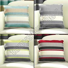 STRIPED STRIPEY CUSHION COVER CASE COTTON BLACK RED CREAM GREEN GREY 43 x 43cm