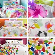 Zandra Rhodes Juno Milo Vader White Floral Colour Duvet Quilt Cover Bedding Set