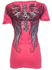 Archaic AFFLICTION Womens T-Shirt FLY HIGH Wings Tattoo Biker Sinful S-XL $40 b