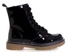 Military Combat Boot Black Gum Round Toe Zipper Lace Up Riding Patent PU-Leather