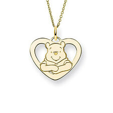 Gold Winnie The Pooh Heart Pendant - Officially Licensed Diney Jewelry