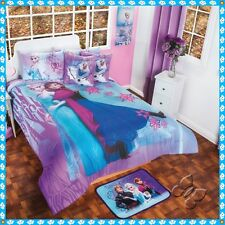 New Girls Disney Purple Blue Frozen Comforter Bedding Sheet Set Twin/Full/Queen