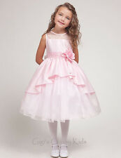 New Pink Flower Girl Dress Size 2-10 Wedding Easter Fancy Pageant Party USA 1214