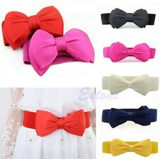 Elegant Women Girls Bowknot Elastic Bow Wide Stretch Buckle Waistband Waist Belt