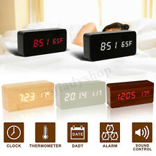 Rectangle Digital LED Alarm Clock Wooden Calendar Thermometer Home Decor