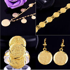 Unisex Earrings Ring necklace bracelet 14k Yellow Gold Filled Coin Jewelry Set