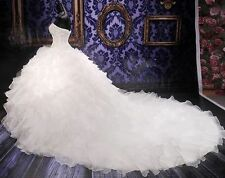 NEW White/Ivory Beaded Wedding Dress Sweetheart Bridal Gown Custom Size Organza