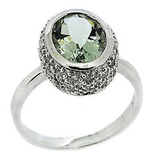 925 Sterling Silver 2.50ct Natural Green Amethyst & CZ Ring