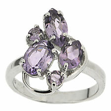 925 Sterling Silver 1.82ct Natural Purple Amethyst Fancy Ring