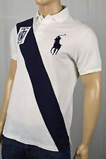Polo Ralph Lauren Cream Custom Fit Big Navy Blue Pony Polo NWT