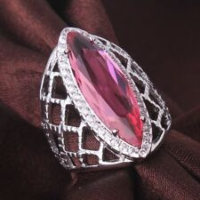 18K white gold filled charm Marquise pink sapphire crystal rings Sz6 to Sz10