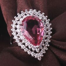 18K white gold filled huge pear pink sapphire crystal pave rings Size6 7 8 9 10