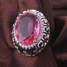 Huge 18K white gold filled pink sapphire crystal Charm rings Size6 7 8 9 10