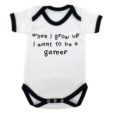 When I Grow Up .. Gamer Baby Bodysuit White with Black Trim gaming online ps NEW