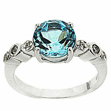 925 Sterling Silver 3.35 ct Natural Sky Blue Topaz & White CZ Ring