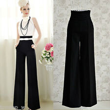 Chic Sexy Womens High Waist Flare Wide Leg Long Pants Casual Palazzo Trousers