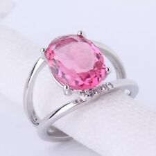 Solitaire 18K gold filled pink Swarovski crystal lady promise rings Sz6to10
