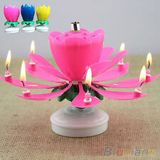 Fashion Musical Lotus Flower Rotating Happy Birthday Party Gift Lights Candle