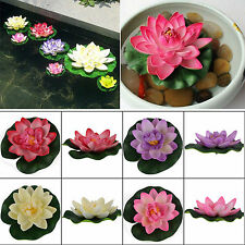 Artificial Lotus Floating Water Lily Flower Plants Home Decor Pond Display 4colo