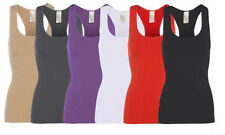 Womens Ribbed Sleeveless Racer Back Vest Ladies Sports Bra Muscle Vest Top New
