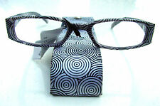 READING GLASSES BLACK WHITE CIRCLES MATCHING CASE SPRUNG ARMS 2 STRENGTHS ET1008