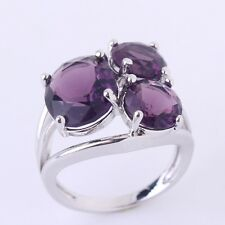 18K white gold filled purple Swarovski crystal Charm Funky lady rings Sz6to10