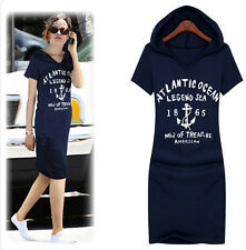 New Women's Casual Letter Print Cotton Fitted Hoodie Long Sweatshirt Mini Dress